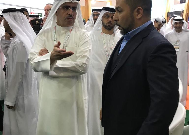 Saeed Mohammed Al Tayer talks with Abdoul Benamer of IFFEN at WETEX 2018 in Dubai