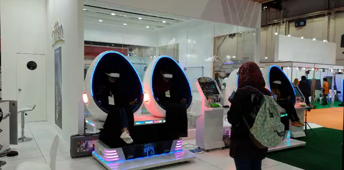 IFFEN VR trainings in 9D egg chairs at WETEX 2018 Dubai